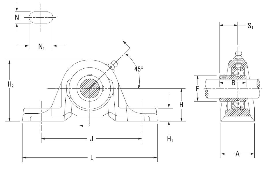 Drawing Lines In Autocad Using Bearings : Fafnir pillow block units setscrew locking on the timken
