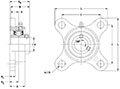 Stainless steel 4 Bolt Flange (SUCSF) Line Drawing