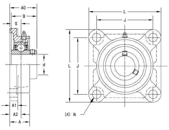 Drawing Lines In Autocad Using Bearings : Timken part number ucf four bolt flanged