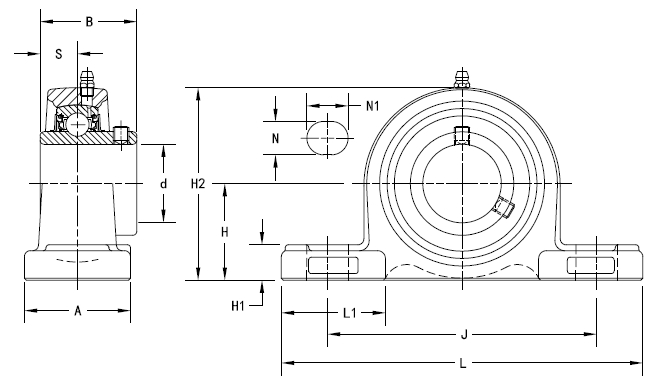 Drawing Lines In Autocad Using Bearings : Ucp pillow block housed units set screw locking on