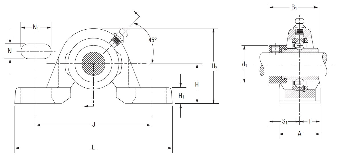 Drawing Lines In Autocad Using Bearings : Fafnir pillow block units eccentric locking collar on the