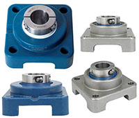 Family Picture - Blue Poly 4 Bolt Quiklean Housing Poly Round Insert with Locking Sleeve