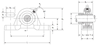 BHU Pillow Block RV Series - Line Drawing